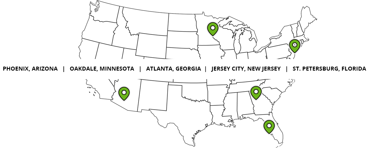 Advisor Group map of locations for student jobs